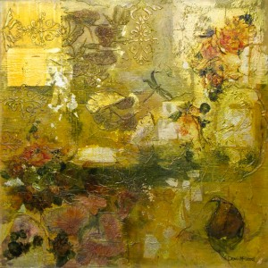 10 'the dragonfly goes poem hunting' 100 x 100 cm